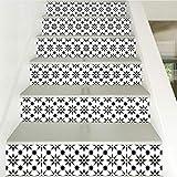 YFXGSTLI Kreative Schwarz Und Weiß Grid Treppen Aufkleber 6 Stück Treppe Schritte Dekor Aufkleber Haus Decoracion 6 Teile/Satz 100X18 cm