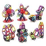 LUXJET® Magnetische Bauklötze Set,Magnetische Konstruktionsbausteine Konstruktion Blöcke,Lernspielzeug für Kinder ab 3 Jahre(39 Stück Magnetstücke und 56 Stück Zubehör)