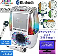 BLUETOOTH CD Player Karaoke, Classic 605 (2 M1CS + 8 CDs) Home Disco Party Light - CDG + Format (Connect TV to display song lyrics) Link Samsung Galaxy, iPhone, iPad, Sony Xperia (White, Party Pack 3)