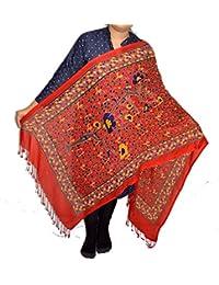 Sanvitta's Floral Jamawar Print Light Weight Viscose Women's Stole RED