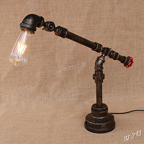 Pumpink Weinlese-justierbare industrielle Eisen-Wasserrohr-Tischlampe Amerikanische antike einfache einzelne Hauptlandwirt-Stehlampe-Tabellen-Licht für Nachttisch-Schreibtisch-Weinkeller-Roboter Steampunk Leselampe