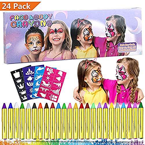 Emooqi Gesichtsfarbe, 24 Farben Kinder Schminkstifte Gesicht Körper -