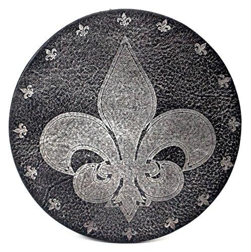 """Glas Untersetzer """"Fleur de Lis"""" Lilie, Schwarz, handgearbeitet aus 100% echtem Vintage Leder, Kreisdurchmesser ist 11cm"""