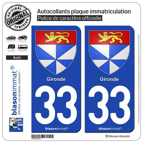 2 STICKERS AUTOCOLLANT PLAQUE IMMATRICULATION DEPARTEMENT 33 AQUITAINE