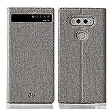 DDJ LG V20 Hülle, LG V20 Case Premium Leder Fensteransicht Automatische Sleep Wakeup Smart Flip Cover Case Shell mit Ständer und Kartensteckplatz für LG V20 (grau)