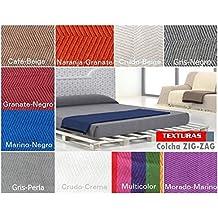 TEXTURAS VIP - Colcha multiusos ZIG-ZAG Sofá y Cama LOW COST ( Varios tamaños disponibles ) (180_x_220_cm, Naranja-Granate)