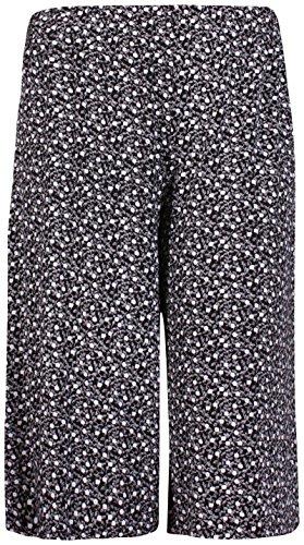 Femmes Grande Taille Floral Pois Imprimé Paisley Femme Extensible Taille Élastique Jambe Large Culottes Short Noir avec fleurs