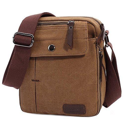 KAUKKO Herren Retro Schultertasche Kleine Canvas Messenger Taschen für Sporttasche Outdoor Freizeit Schule Reisetasche Strandtasche Apricot (49) Khaki