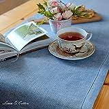 Linen & Cotton Luxus Tischläufer Stoff/Tischband Modern mit Hohlsaum Scandi, 100% Leinen, 44 x 180cm, Blau - Ideal für Hochzeit Gastronomie Hotel Restaurant Cafe