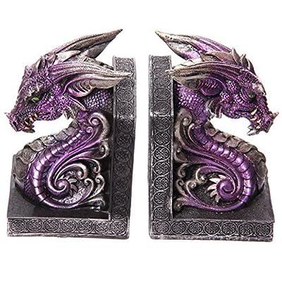 Dark Legends Dragon Head Book Ends - Purple. PDS