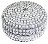 Weihnachtsgeschenke für frauen Handgemachte dekorative -silber runde Perlen Schmuckschatulle für Halskette, Ohrringe, Ring und Kette -10 x 10 x 5 cm