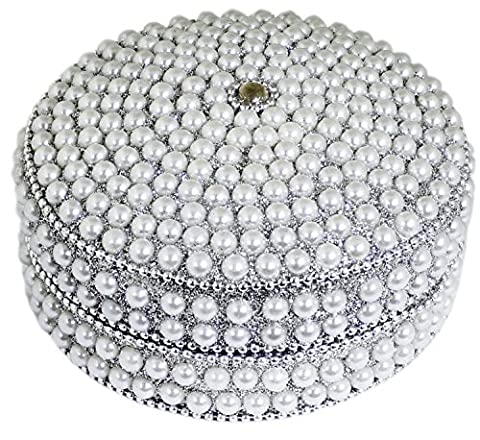 Handmade Decorative Box -Silver Round Beaded Jewelry Box for Necklace, Earrings, Ring and Chain -10 x 10 x 5 cm