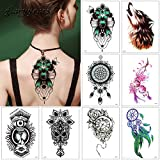 #9: glaryyears 1 Sheet WX Temporary Tattoo Sticker for Women Men Body Arm Back Chest Art Decal Wolf Flower Pattern Simple-any one design as per choice
