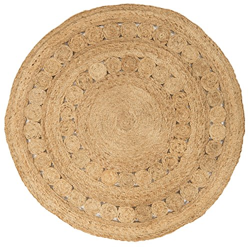 Moderne tapis design Zype Jute Tapis 150 x 150 cm Cercle 003 Spiro naturel brun 100% jute