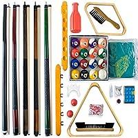 Billar - Juego de accesorios TODO EN UNO - Juego completo que incluye 5 tacos, bolas de billar, triángulo y varios extras, conjunto de accesorios, piscina, billar