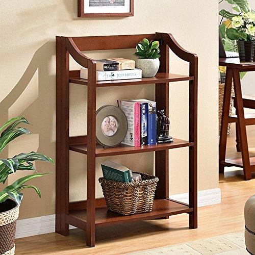 Shelves DUO Bücherregal 3-Tier Regale Regal Wohnzimmer Bücherregal Display-Speicher Hängeregal, (Farbe : Nussbaum) -