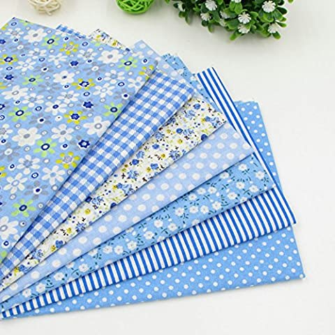 7pcs 49cm * 49Blu 100% tessuto di cotone per cucire