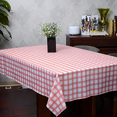 Blue & White Checker Plastiktischdecke 56-Zoll mit 88-Zoll-rechteckigen Tischdecke einfache Reinigung