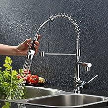 Rubinetti da cucina - con spinta verso il basso per doppio lavello Miscelatore in ottone girevole a molla, rubinetto in cromo -