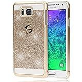Samsung Galaxy Alpha Hülle Handyhülle von NALIA, Glitzer Slim Hard-Case Back-Cover Schutzhülle, Handy-Tasche im Glitter Design, Dünnes Bling Strass Etui Skin für Galaxy Alpha Smart-Phone - Gold