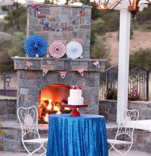 shinybeauty 72in Royal Blau Pailletten Tischdecke, Royal Blau Hochzeit Tischdecke, Royal Blau Glitter Tischdecke, Royal Blau Tischdecke, Leinen, königsblau, 72in (Glitter Leinen Tischdecke)