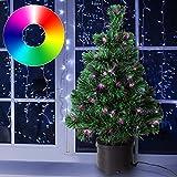Deuba Weihnachtsbaum 60cm hoch Farbwechselspiel - 9 verschiedene Lichteffekte - Christbaum Weihnachtsdeko Tannenbaum Mini Tischbaum