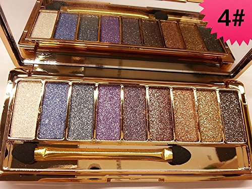 JGB 9 Colors Diamond Bright Colorful Makeup Eye Shadow Palette Set Flash Glitter Eyeshadow with Brush,6 Edition … (4)
