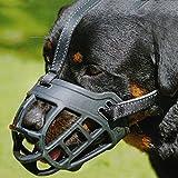 CRAZYBOY® Silikon-Korb Hund Maulkörbe, Ermöglicht Trinken, Keuchen und Essen für Schnauzer Border Collie Golden Retriever Rottweiler (M, schwarz) - 2