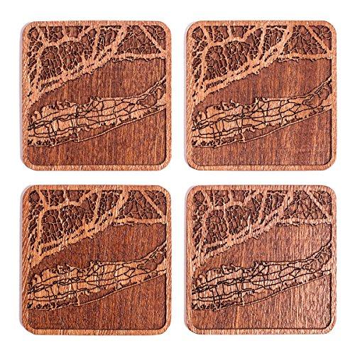 Long Island Map Coaster, Set Of 4, Sapele Wooden Coaster With City Map, Handmade