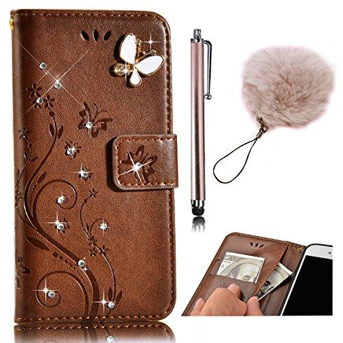 iPhone 8 Brieftasche Hülle,Vandot Leder Tasche Rosa Mandala Flip Case Schutzhülle mit Standfunktion und Magnetverschluss für iPhone 8 / iPhone 7 (4,7 Zoll) Bookstyle Flip Wallet Cover Handyhülle Karte Strass-Braun