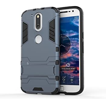 SDO™ Military Grade Armor with Kick Stand Version 2.0 Hybrid Back Cover Case for Moto G4 Plus (Power Blue)