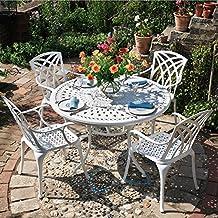 Lazy Susan - Table ronde 120 cm ALICE et 4 chaises de jardin - Salon de 4262d6733891