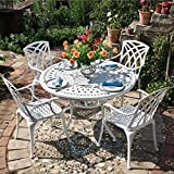 Lazy Susan - Table ronde 120 cm ALICE et 4 chaises de jardin - Salon de jardin en aluminium moulé, Blanc (chaises APRIL)