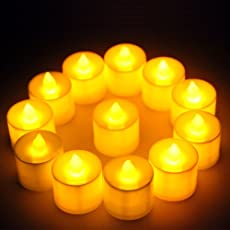 Perfect LED Flameless YELLOW Tea Light Candles with Extra Batteries SET OF BIG SIZE