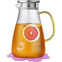 Boqo Carafe à eau en verre avec couvercle, couvercle et dessous de verre en acier inoxydable (1,5 litre)