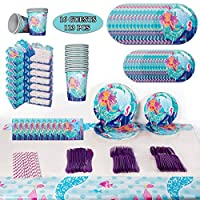 Mermaid Birthday Party Supplies Decorations Favors, Tablewares Serve 16 Guests, Tablecloth, Napkins, Invitation Cards for Under The Sea Theme Party Kit Decor For Girl's Baby Shower- 113 Pcs
