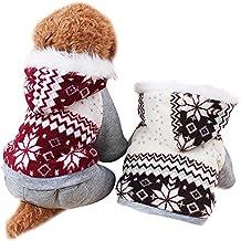 Invierno Ropa Para Perros Mascota Gato Sudaderas de Algodón Caliente (M, Rojo)
