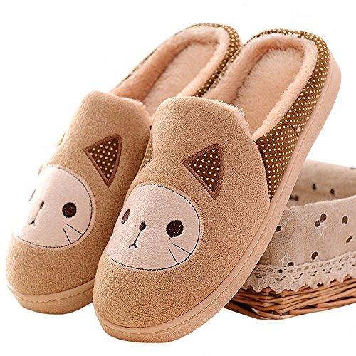 Minetom Damen Mädchen Herbst Winter Plüsch Hausschuhe Wärme Cartoon Katze gepolsterte Schuhe Khaki EU 36