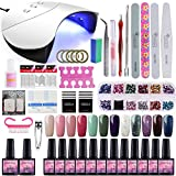 Saint-Acior 12PCS Gel Uñas Esmalte Semipermanente 8ml LED Lámpara Secador de Uñas 36W Nail Dryer...
