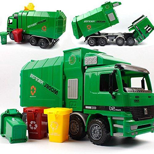 SHANDP Camión de seguridad para niños, juguetes de inercia, con contenedores de basura
