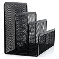 beiguoxia Small Mesh Letter Sorter Desktop File Holder Organizer Document Tray Holder Metal Mesh with 3 Vertical Upright Compartments