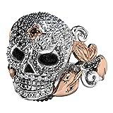 EVBEA Bague Crâne en Or Rose Deux Tons Rose Crâne avec Feuille Détail Black Diamond Eyes Déclaration Bling Bijoutier