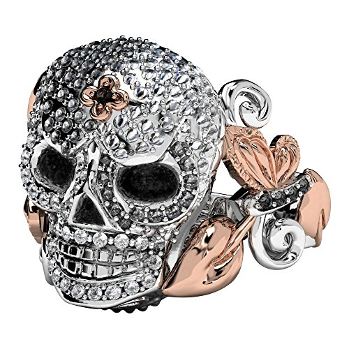 EVBEA Rose Gold Skull Ring Zwei Ton Rose Skull mit Blatt Detail Black Diamond Eyes Anweisung Bling Schmuck (S 1/2) (Diamond Ringe Black)