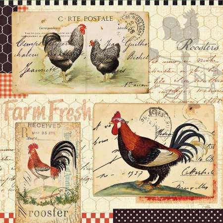 Rooster Farm II by Pelletier, Alain disponibile-Stampa artistica su tela e carta, Tela, SMALL (12 x 12 Inches