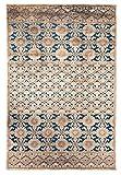 Tapiso Bohemian Teppich Klassisch Vintage Kurzflor Orientalisch Floral Buchara Ornament Muster Braun Blau Wohnzimmer ÖKOTEX 80 x 150 cm