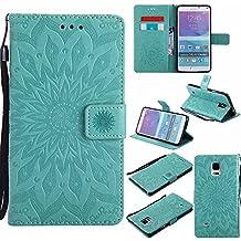Funda Galaxy Note 4, Dfly Premium PU Cuero Patrón Datura Flor Diseño Cierre Magnético Slim Flip Billetera para Samsung Galaxy Note 4, Verde