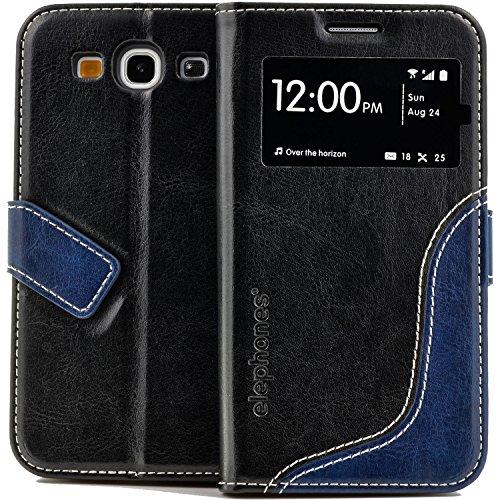 elephones Handyhülle Samsung Galaxy S3 / S3 Neo Hülle Schutzhülle Handytasche Case Cover Schwarz mit Stand Kartenfach