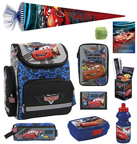 Familando Disney Cars Schulranzen Set 15tlg. mit Federmappe gefüllt Schultüte 85cm TEMCA18 blau
