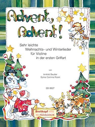Advent, Advent! Sehr leichte Weihnachts- und Winterlieder für Violine, Violine2 (Klavier/Gitarre) (EB 8827)