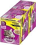 Whiskas Katzenfutter 7+ für Katzen ab 7 Jahren und älter - saftige Geflügel-Auswahl in Sauce / 48 Portionsbeutel (2 x 24 x 100g)